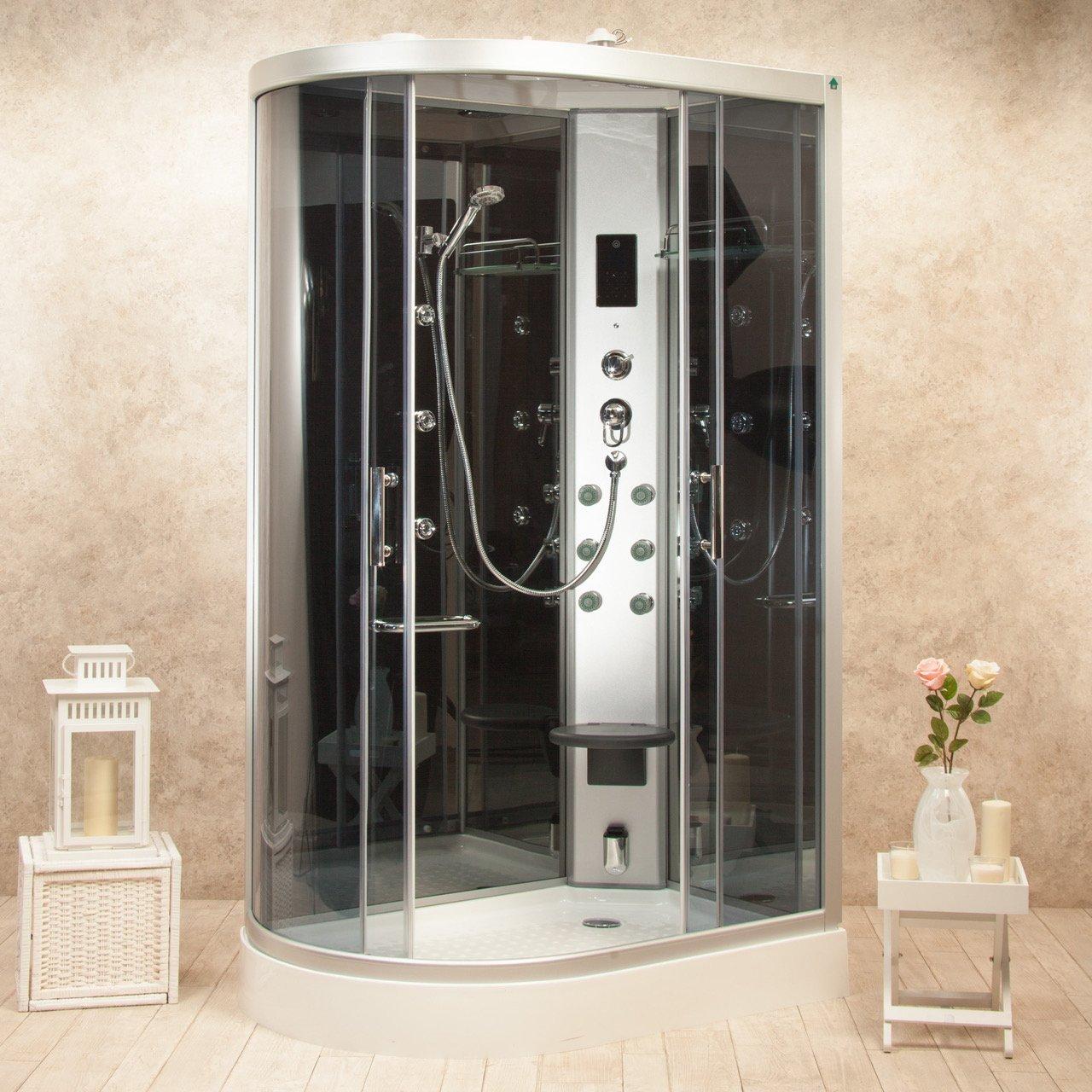 Box doccia idromassaggio atene 120x80 destra sauna bagno turco e ozono cod 00000066 for Box doccia sauna bagno turco