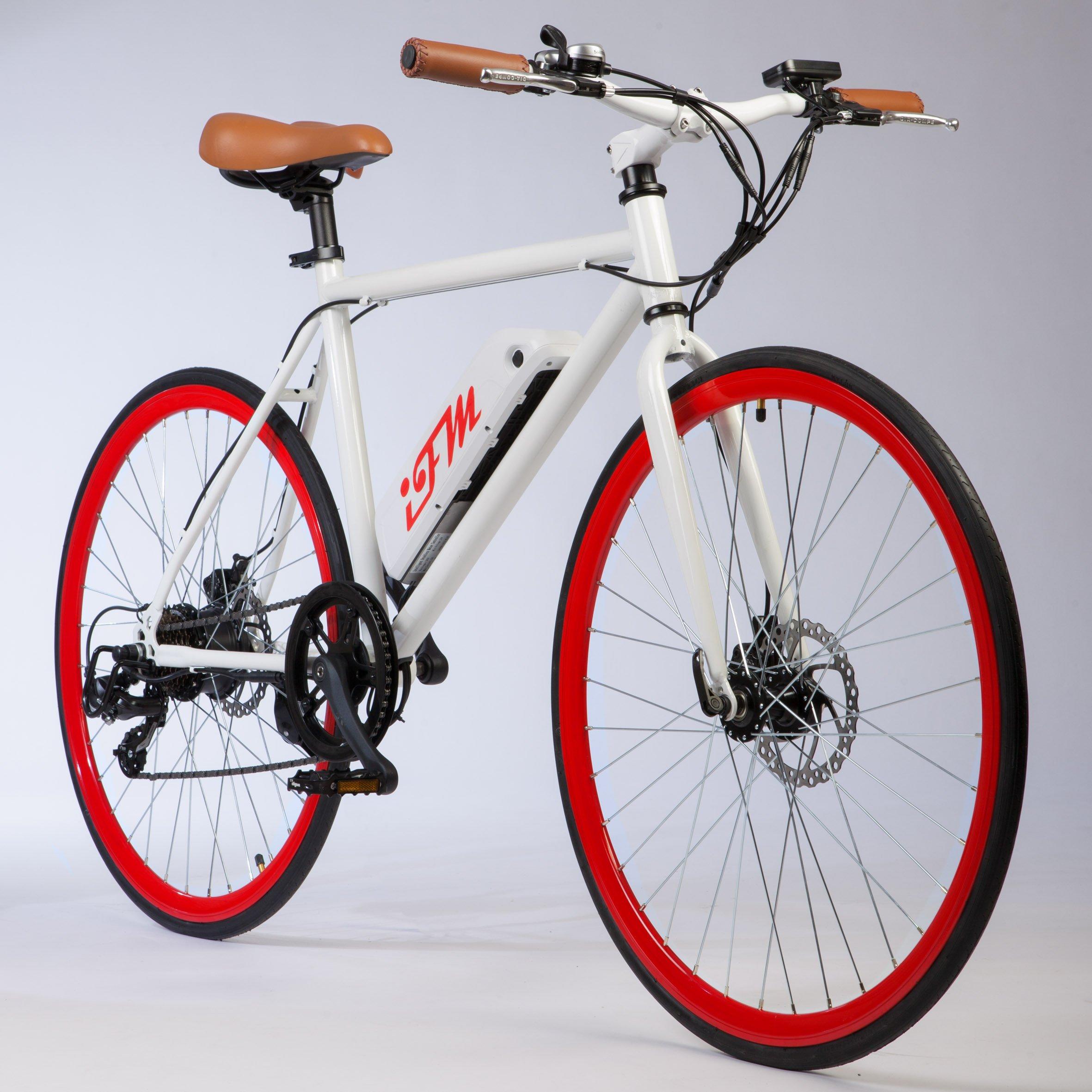 City Bike Elettrica Uomo Rossa Batteria Litio 26
