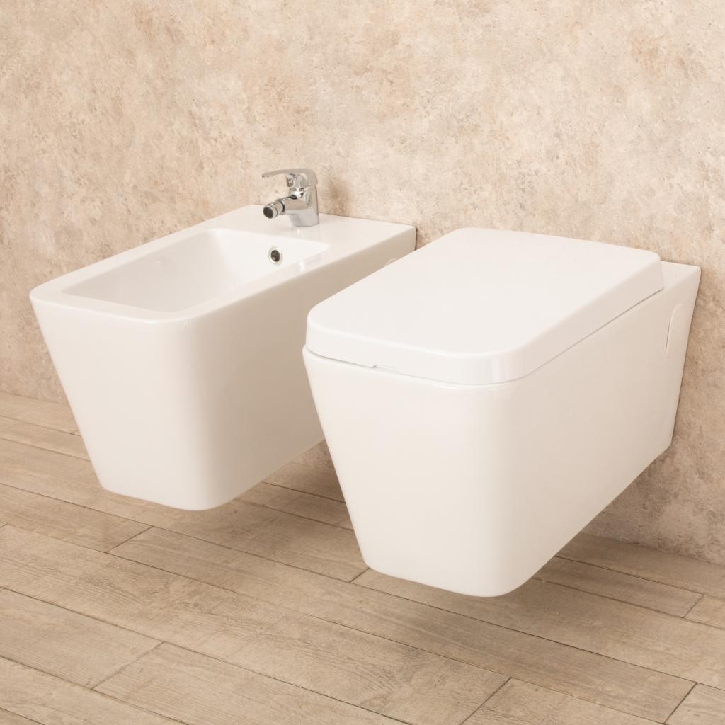 Sanitari bagno sospesi minimal wc con seduta bidet di design