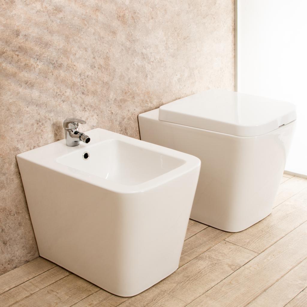 Sedile Bidet Per Wc.Sanitari Bagno Filo Parete Minimal Wc Con Sedile Bidet In Ceramica