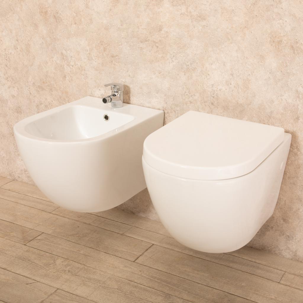 Costo Bidet Ceramica.Sanitari Sospesi Vortix In Ceramica Wc Senza Brida Tavoletta