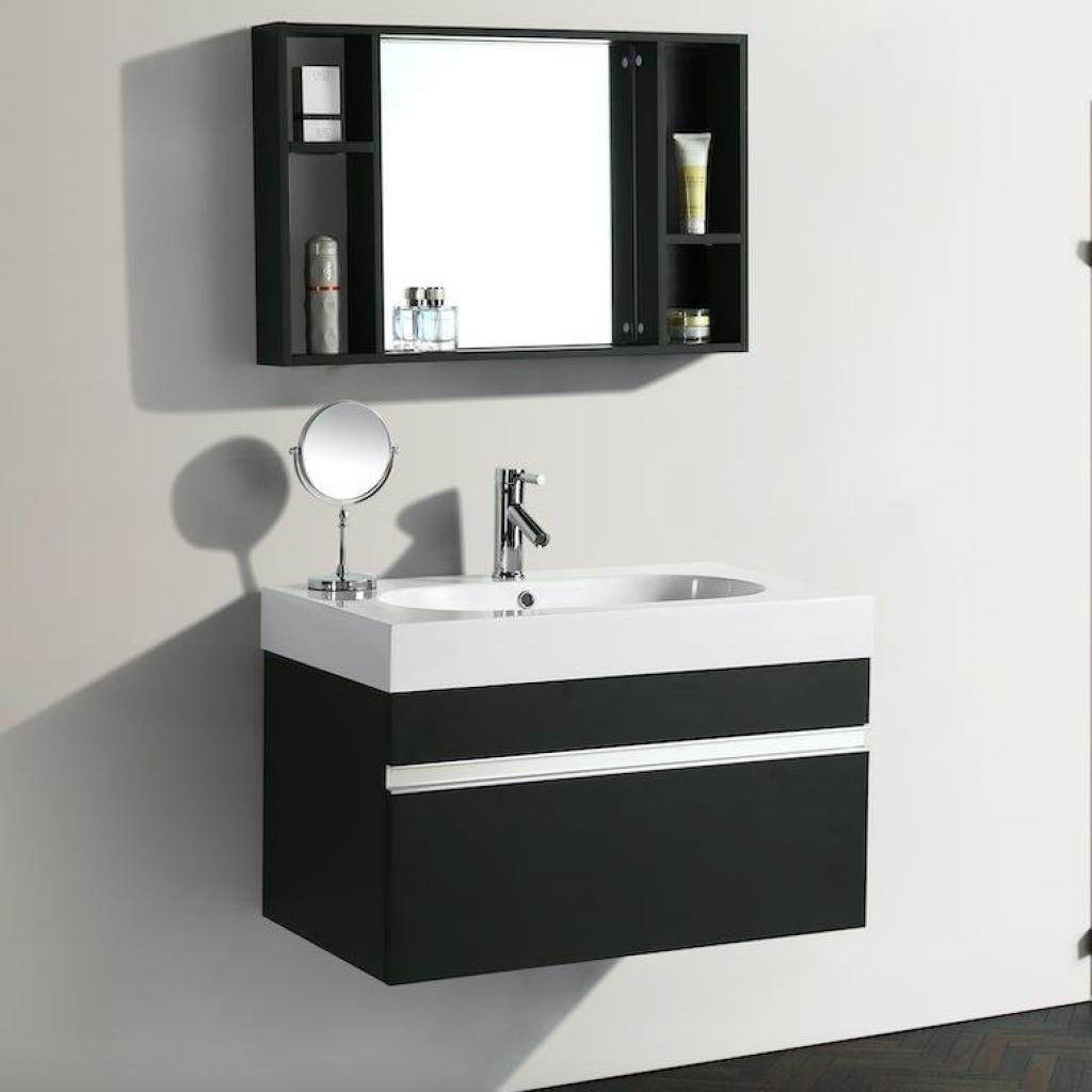 Mobile arredo bagno idea 90 cm sospeso moderno nero cod for Mobili del bagno