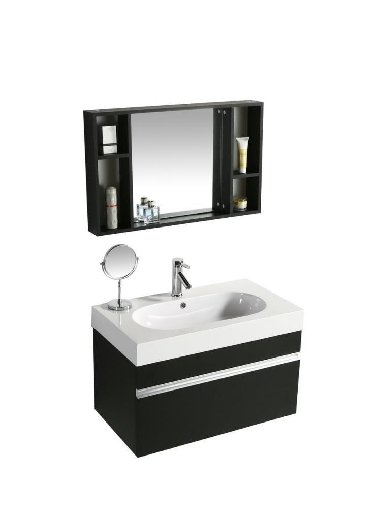 Mobile Arredo Bagno Idea 90 cm Sospeso Moderno Nero cod. 00000489
