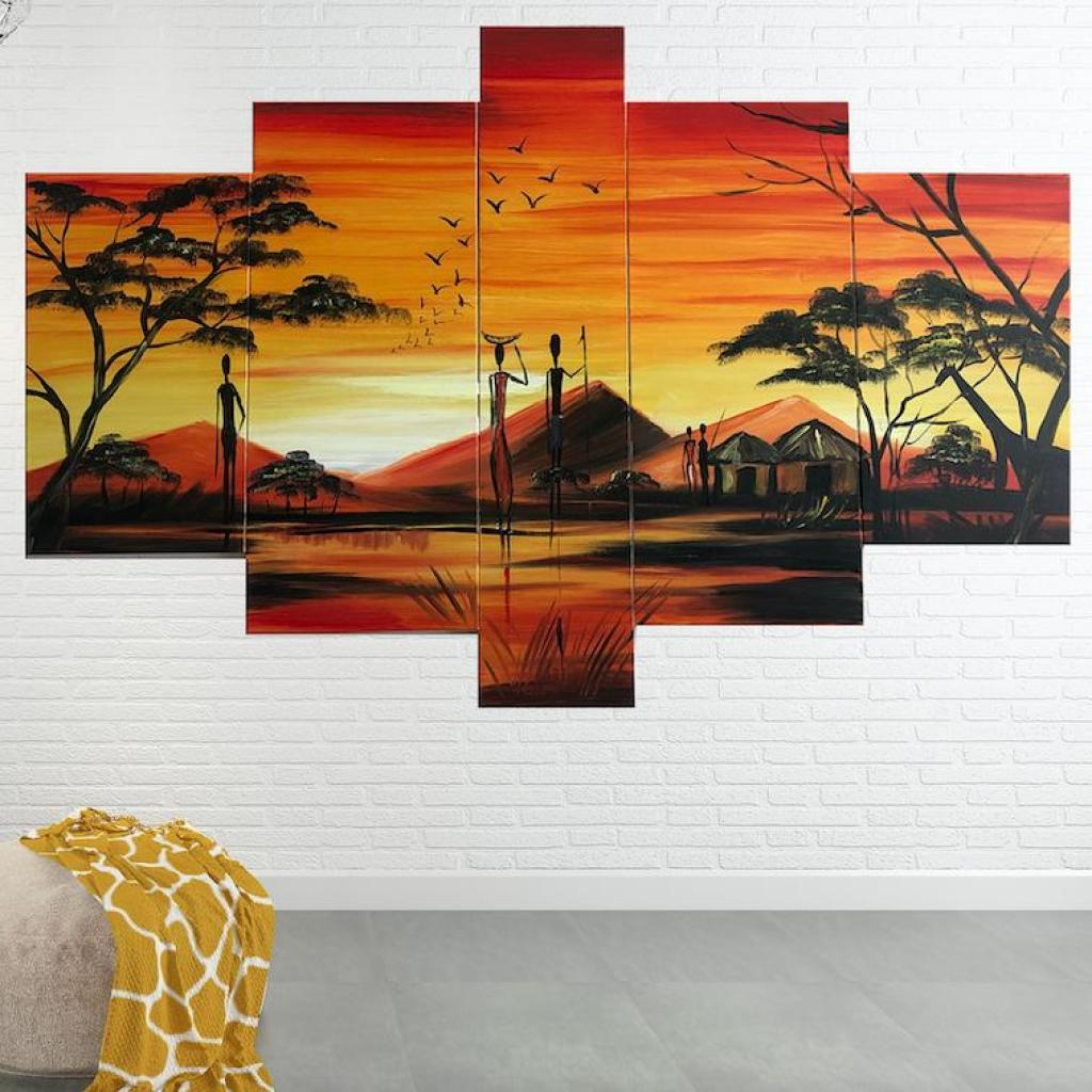 Quadro Dipinto a Mano Olio su Tela a 5 Pannelli di un ...