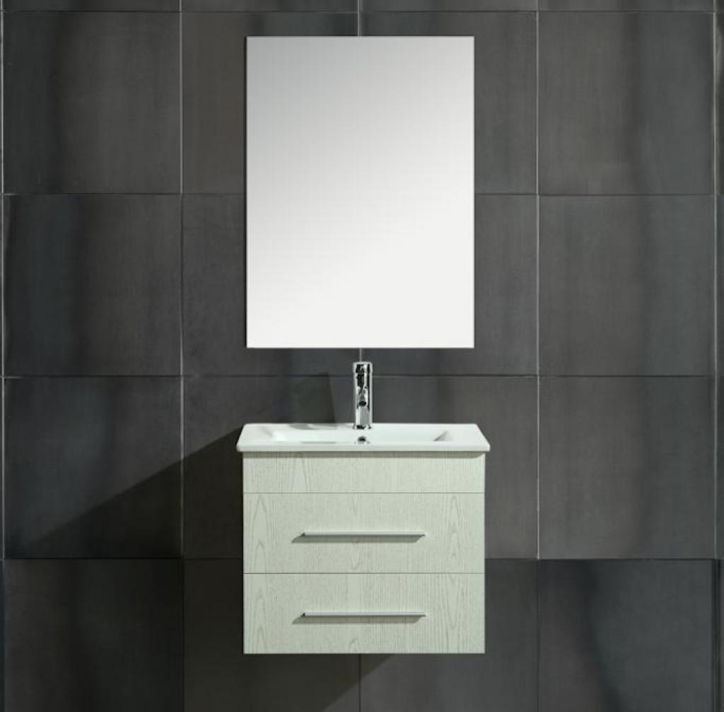 Mobile arredo bagno kristal 60 cm sospeso moderno bianco for Arredo bagno bianco