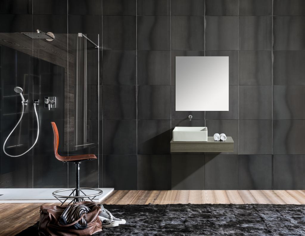 Mobile arredo bagno british 85 cm sospeso di design grigio