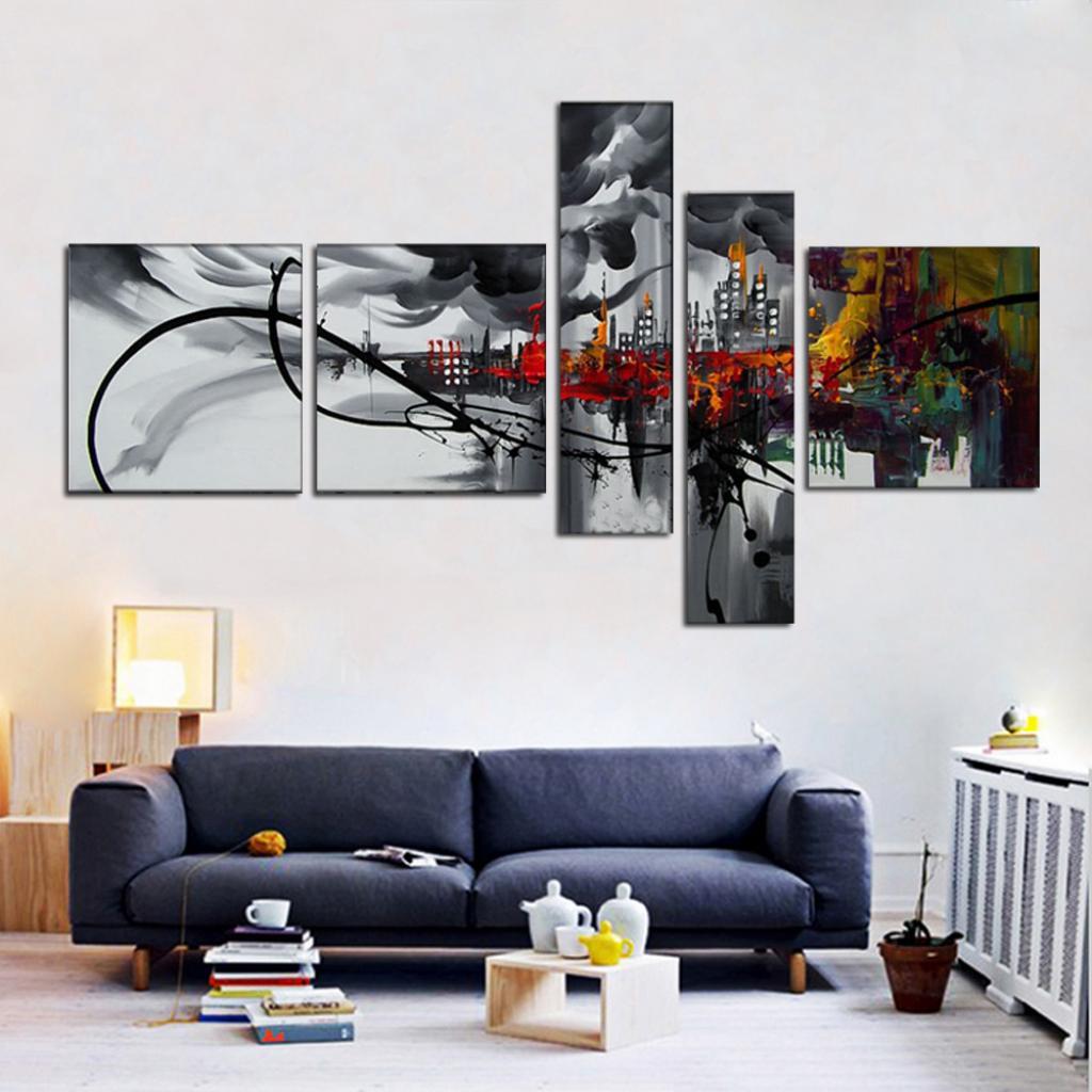 Quadro Moderno Dipinto a Mano su Tela Astratto a 5 Pannelli ...