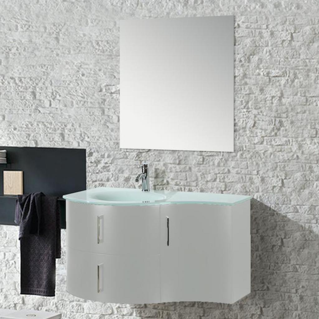 Mobile Arredo Bagno Kursal 104 cm Sospeso Bianco Sinistro ...