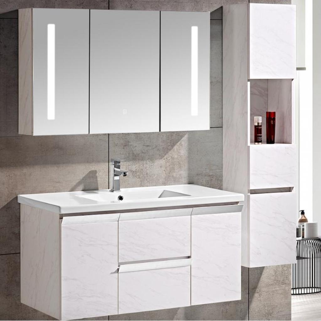 Set Mobile Arredo Bagno Venice Stone Bianco 100cm + Colonna ...