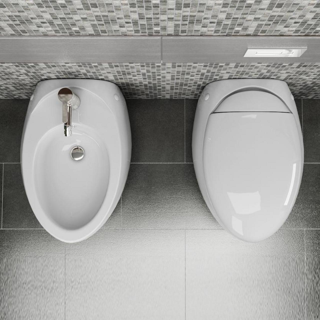 Sanitari filo parete wind wc con seduta e bidet in ceramica di design - Sanitari filo parete prezzi ...