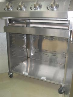 Barbecue Gas GPL/Metano Total Inox 4 fuochi Pietra Lavica