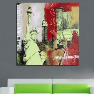 Quadro Dipinto a Mano Olio su Tela Astratto di New York City N74