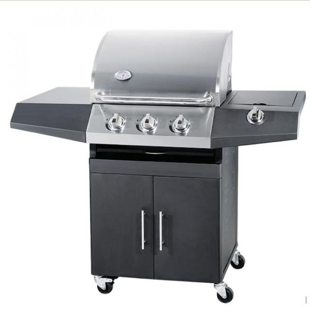 Barbecue a Gas GPL e Metano Black Inox a 3 Fuochi