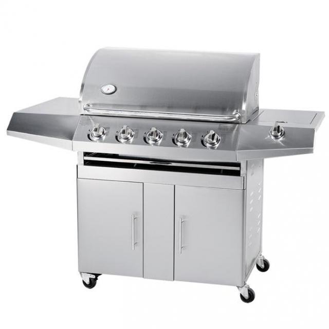 Barbecue Gas GPL-Metano Total Inox 5 Fuochi Pietra Lavica