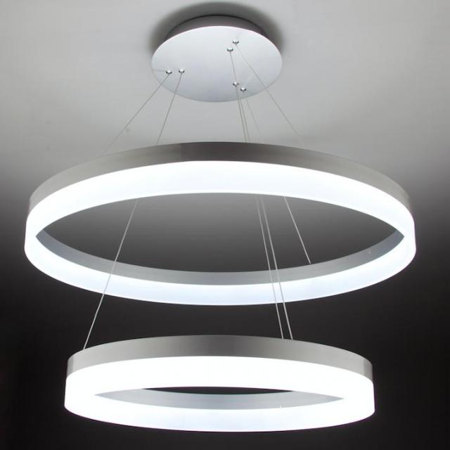 Lampadario a Sospensione Led Circle 2T Luce Fredda di Design Moderno